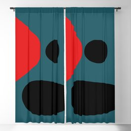 Minimal Red Black Abstract Art Blackout Curtain