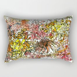 Red Yellow Orange flower watercolor abstraction Rectangular Pillow