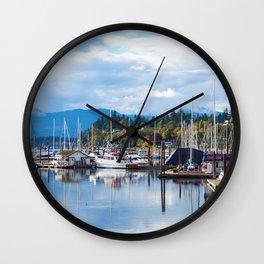 Fall harbor Wall Clock