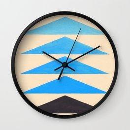 Baby Blue Geometric Triangle Pattern With Black Accent Wall Clock