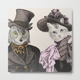 The Owl and the Pussycat | Anthropomorphic Owl and Cat | Metal Print