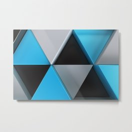 Pattern of black, white and blue triangle prisms Metal Print