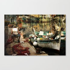 Man and his boat - Villefranche Canvas Print