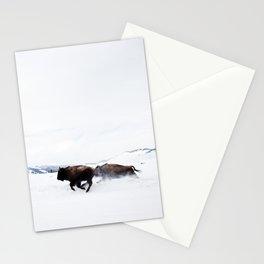 Wild Bison Running in Winter Stationery Cards