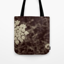 Lace Black and White Flower Tote Bag