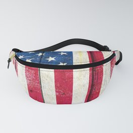 Vintage American Flag On Old Barn Wood Fanny Pack