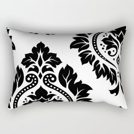 Decorative Damask Art I Black on White Rectangular Pillow