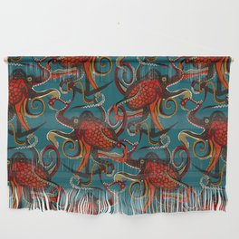 octopus ink teal Wall Hanging