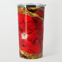 RED BLOODY HIBISCUS FLOWERS ALLIGATORS GOLD ART Travel Mug