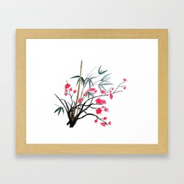 bamboo and red plum flowers Framed Art Print