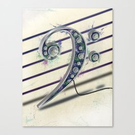 Colorful Music Bass Clef Canvas Print