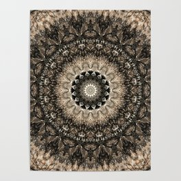 Dark Brown Boho Mandala Poster