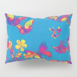 Blue Butterflies & Flowers Pillow Sham