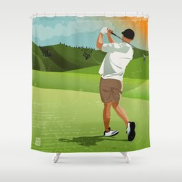Mountain Golfer Shower Curtain