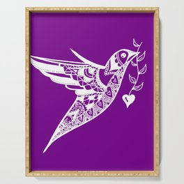 Purple and White print of a hummingbird with a love heart Serving Tray