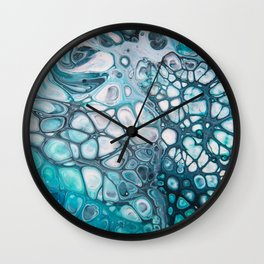 Dee Blue Acrylic Pour Wall Clock