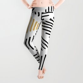 Simple Geometric Zig Zag Pattern-Black Gold White -Mix & Match with Simplicity of life Leggings