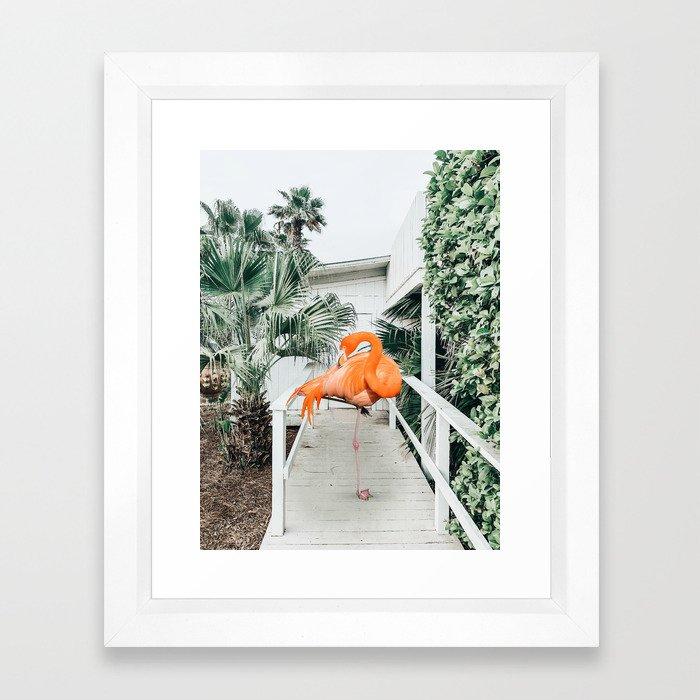 Flamingo Beach House #photography #digitalart Framed Art Print