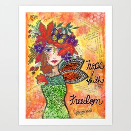"""Hope, Faith, Freedom"" Original Journal Art by Peri Allen Art Print"