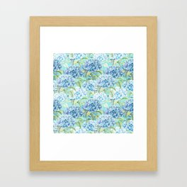 Blue floral hydrangea flower flowers Vintage watercolor pattern Framed Art Print