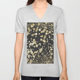 Chic black and gold modern confetti pattern Unisex V-Neck