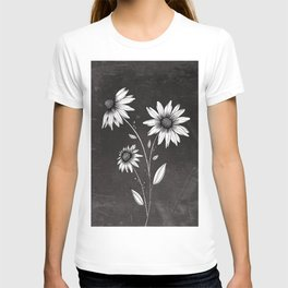 Wildflowers Ink Drawing | Black Background T-shirt