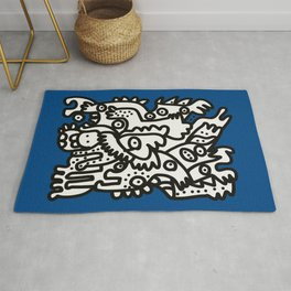 Blue Navy Color 2020 with Black and White Cool Monsters Rug
