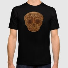 Wooden Sugar Skull Mens Fitted Tee MEDIUM Black