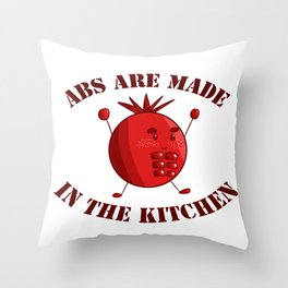 Six-Pack Tomato - Abs are made in the Kitchen Throw Pillow