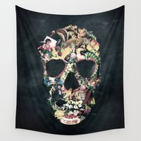 ali gulec Wall Tapestries featuring Vintage Skull by Ali GULEC
