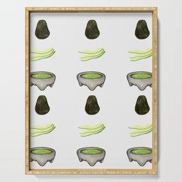 Watercolor fun avocado to guac design Serving Tray