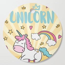 Background with stars and hearts with hand drawn unicorn Cutting Board
