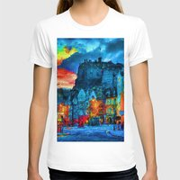 edinburgh T-shirts featuring Edinburgh Evening by E.M. Shafer