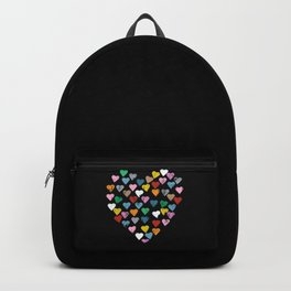 Distressed Hearts Heart Black Backpack