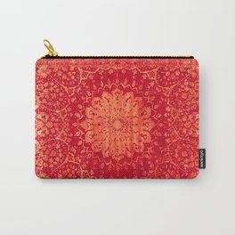 Geometric Orange Oriental Vintage Traditional Moroccan Mandala Carry-All Pouch