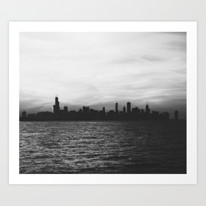 Black and White Chicago Seascape Art Print