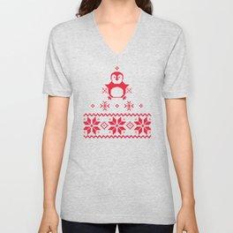 Red Scandinavian Penguin Holiday Design Unisex V-Neck