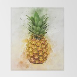 Watercolor Pineapple Throw Blanket