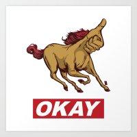 okay Art Prints featuring OKAY by Thomcat23