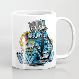 Classic Muscle Car Hot Rod Chrome Racing Engine Cartoon Coffee Mug