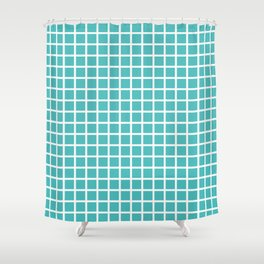 Grid (White & Teal Pattern) Shower Curtain