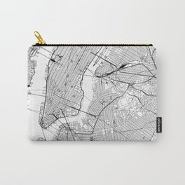 New York City White Map Carry-All Pouch
