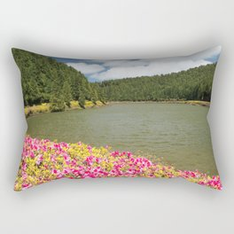 Azaleas and lake in Azores Rectangular Pillow