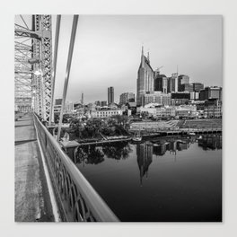 Nashville Monochrome Skyline From The Pedestrian Bridge Canvas Print