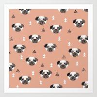 Cute geometric style pug puppy illustration pattern Art Print