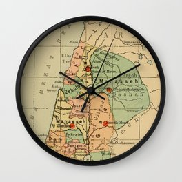 Map of Palestine Divided by the 12 tribes from 1889 Wall Clock