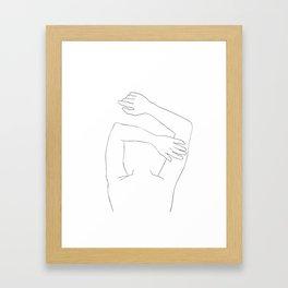 Minimal line drawing of woman sleeping Framed Art Print