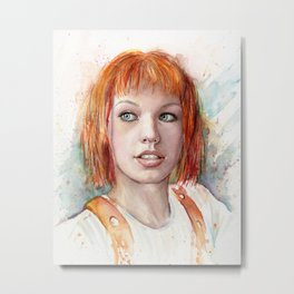 Leeloo Portrait Fifth Element Art Metal Print