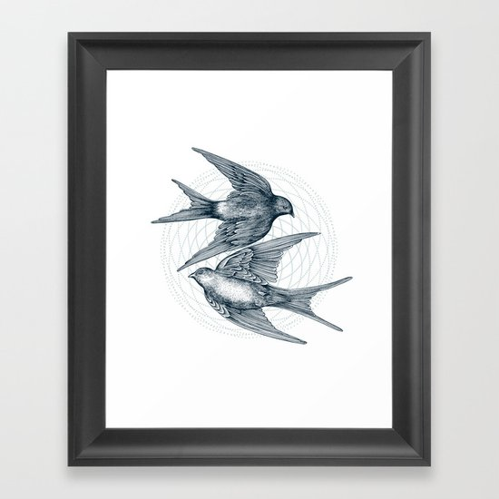 Two Swallows Framed Art Print