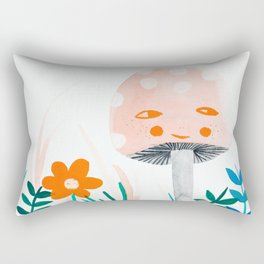 pink mushroom with floral elements Rectangular Pillow